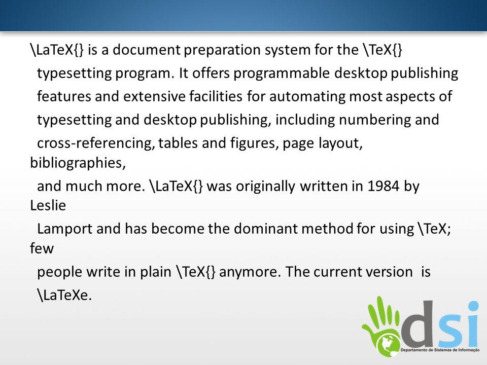 Referências Andrade, Lenimar Nuned de; Breve Introdução ao LATEX2, disponível em: ftp://mat.ufpb.br/pub/textos/tex/breve21.zip, acessado em 11/03/2012ftp://mat.ufpb.br/pub/textos/tex/breve21.zip http://en.wikipedia.org/wiki/LaTeX http://chem-e.org/como-instalar-o-latex-no-windows-xpvista7/ http://mtm.ufsc.br/~daniel/amcom/LATEX/latex_tut.html http://www.latexeditor.org/tech_det.html