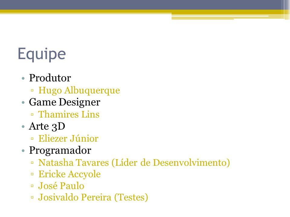 Equipe Produtor Hugo Albuquerque Game Designer Thamires Lins Arte 3D Eliezer Júnior Programador Natasha Tavares (Líder de Desenvolvimento) Ericke Accy
