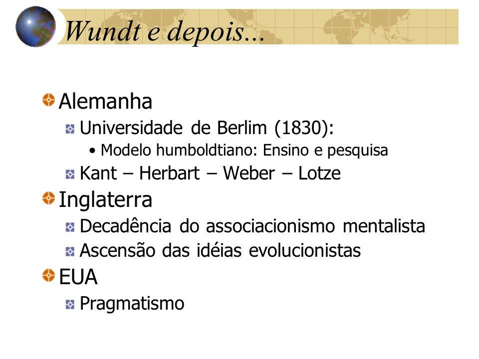 Wundt e depois... Alemanha Universidade de Berlim (1830): Modelo humboldtiano: Ensino e pesquisa Kant – Herbart – Weber – Lotze Inglaterra Decadência