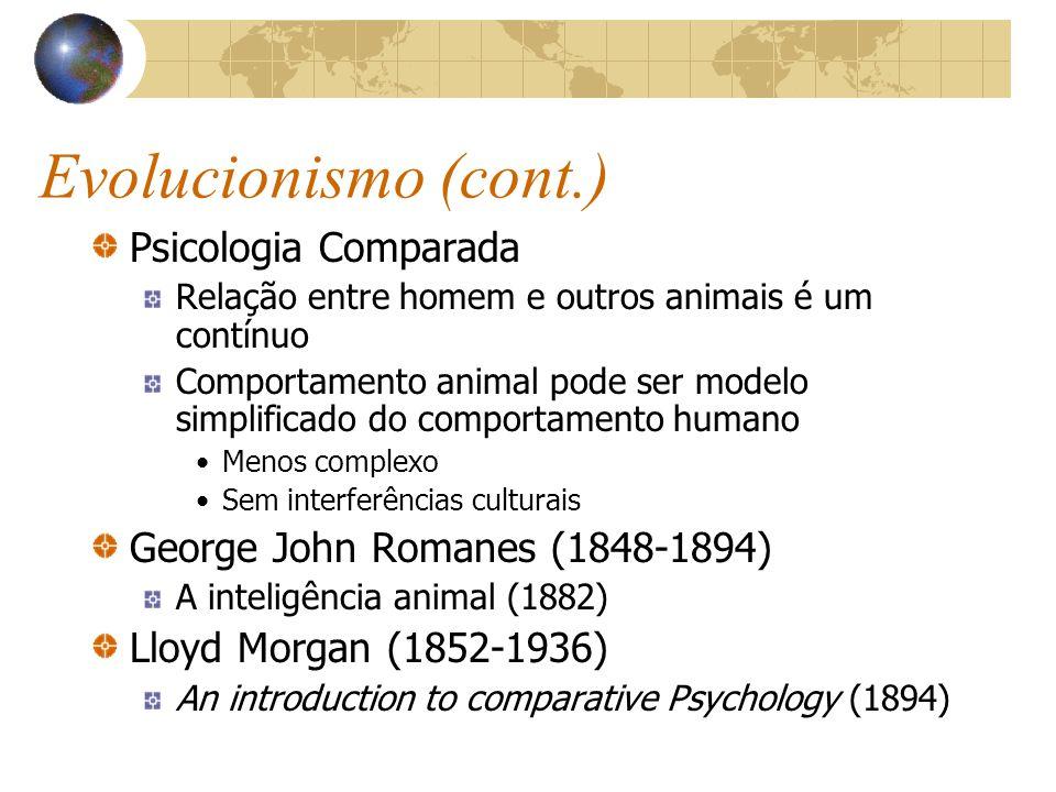 Evolucionismo (cont.) Psicologia Comparada Relação entre homem e outros animais é um contínuo Comportamento animal pode ser modelo simplificado do com