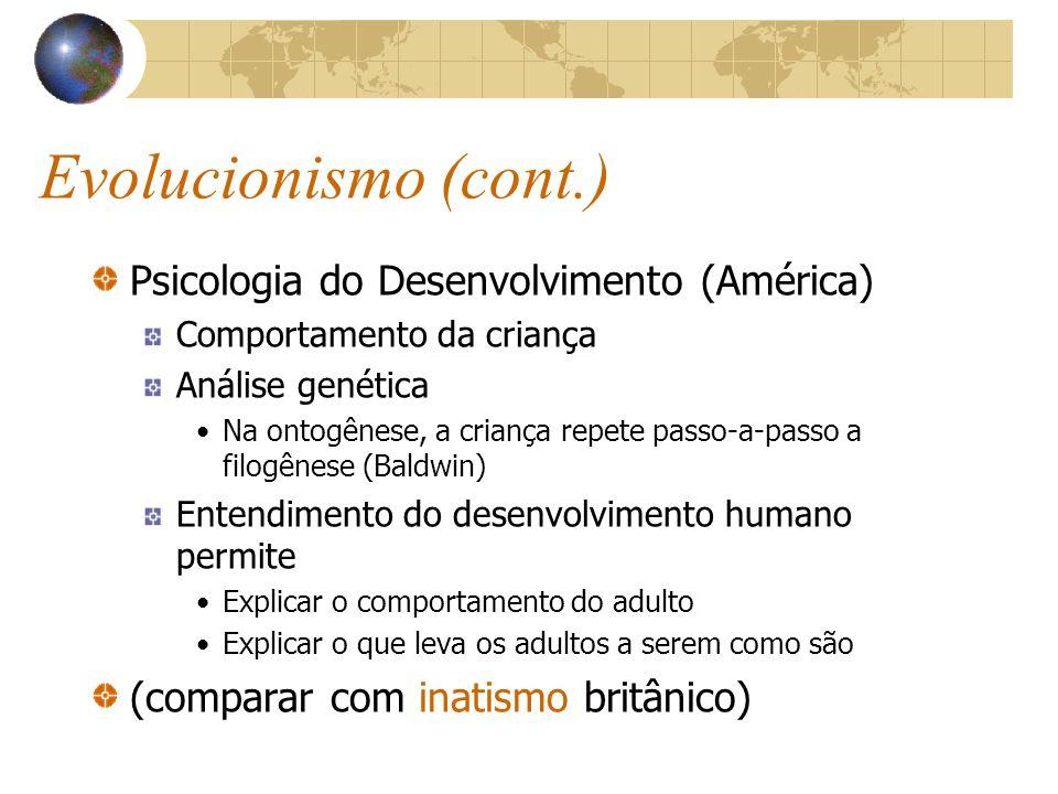 Evolucionismo (cont.) Psicologia do Desenvolvimento (América) Comportamento da criança Análise genética Na ontogênese, a criança repete passo-a-passo