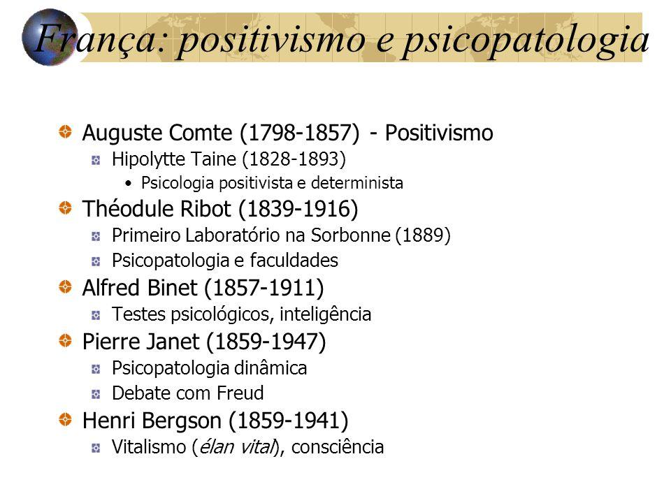 França: positivismo e psicopatologia Auguste Comte (1798-1857) - Positivismo Hipolytte Taine (1828-1893) Psicologia positivista e determinista Théodul