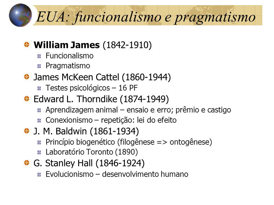 EUA: funcionalismo e pragmatismo William James (1842-1910) Funcionalismo Pragmatismo James McKeen Cattel (1860-1944) Testes psicológicos – 16 PF Edwar