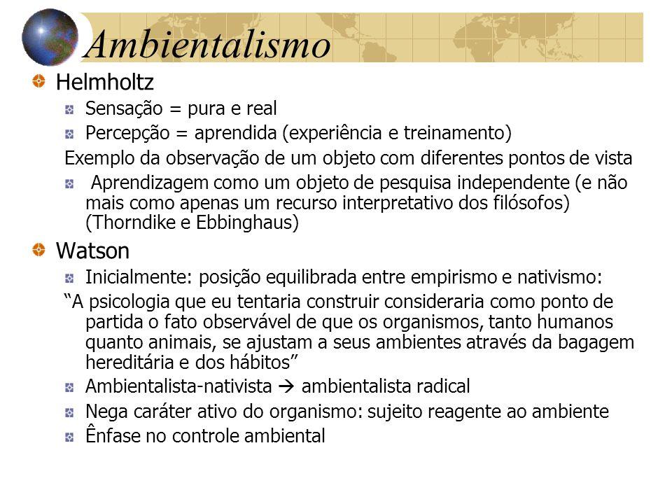 Ambientalismo Helmholtz Sensação = pura e real Percepção = aprendida (experiência e treinamento) Exemplo da observação de um objeto com diferentes pon