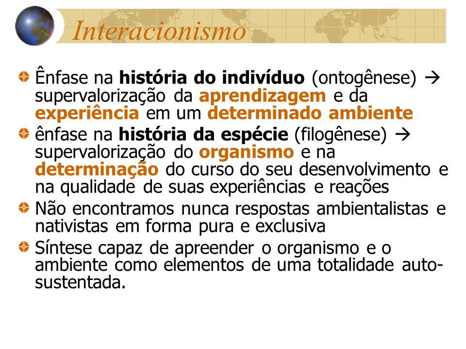 Interacionismo Ênfase na história do indivíduo (ontogênese) supervalorização da aprendizagem e da experiência em um determinado ambiente ênfase na his