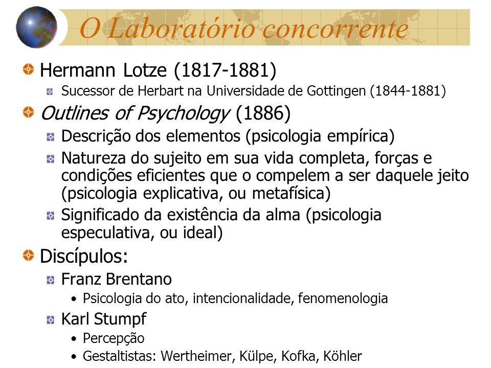 O Laboratório concorrente Hermann Lotze (1817-1881) Sucessor de Herbart na Universidade de Gottingen (1844-1881) Outlines of Psychology (1886) Descriç