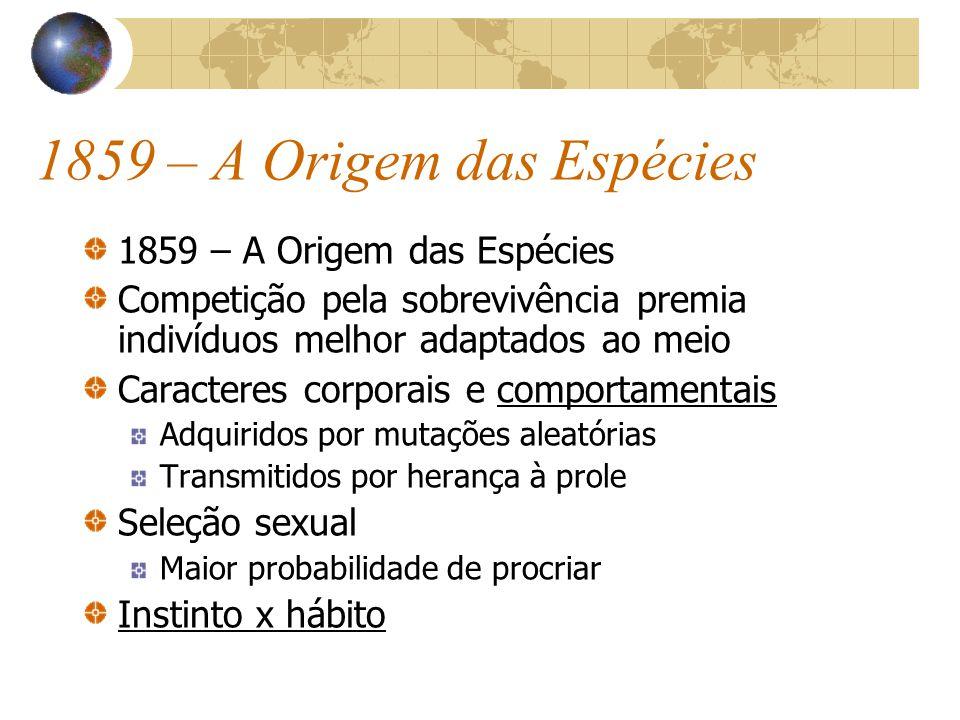 1859 – A Origem das Espécies Competição pela sobrevivência premia indivíduos melhor adaptados ao meio Caracteres corporais e comportamentais Adquirido