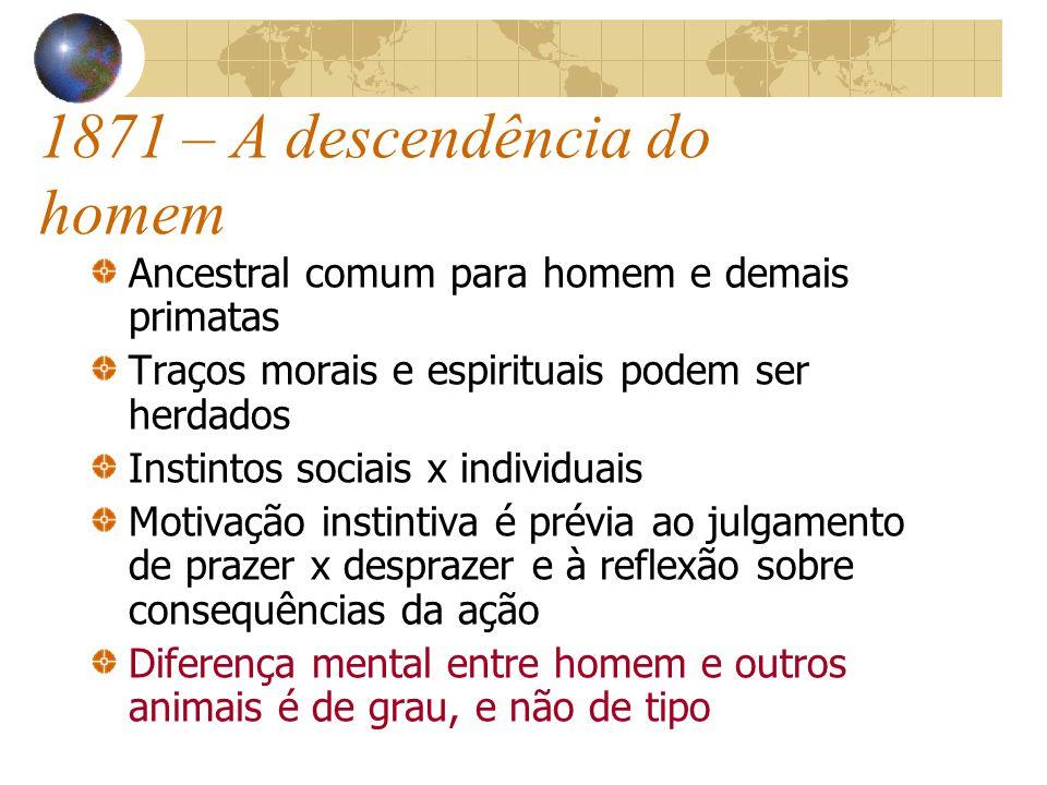 1871 – A descendência do homem Ancestral comum para homem e demais primatas Traços morais e espirituais podem ser herdados Instintos sociais x individ