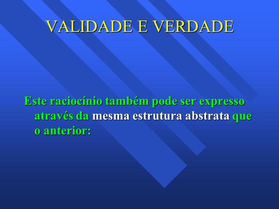 VALIDADE E VERDADE Este raciocínio também pode ser expresso através da mesma estrutura abstrata que o anterior: