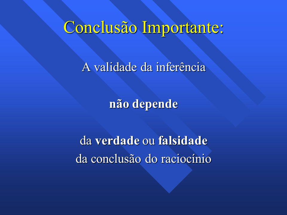 Conclusão Importante: A validade da inferência não depende da verdade ou falsidade da conclusão do raciocínio