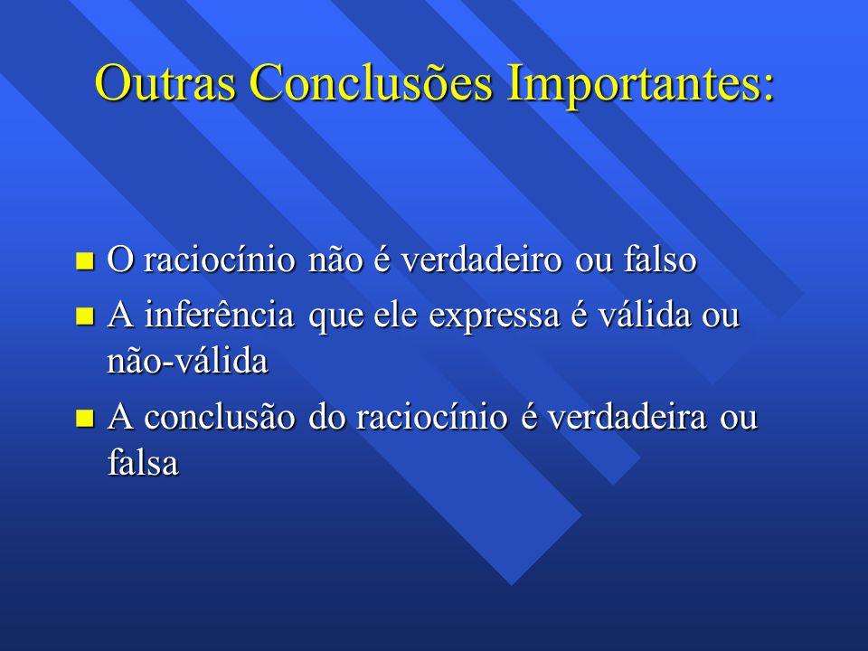 Outras Conclusões Importantes: n O raciocínio não é verdadeiro ou falso n A inferência que ele expressa é válida ou não-válida n A conclusão do raciocínio é verdadeira ou falsa