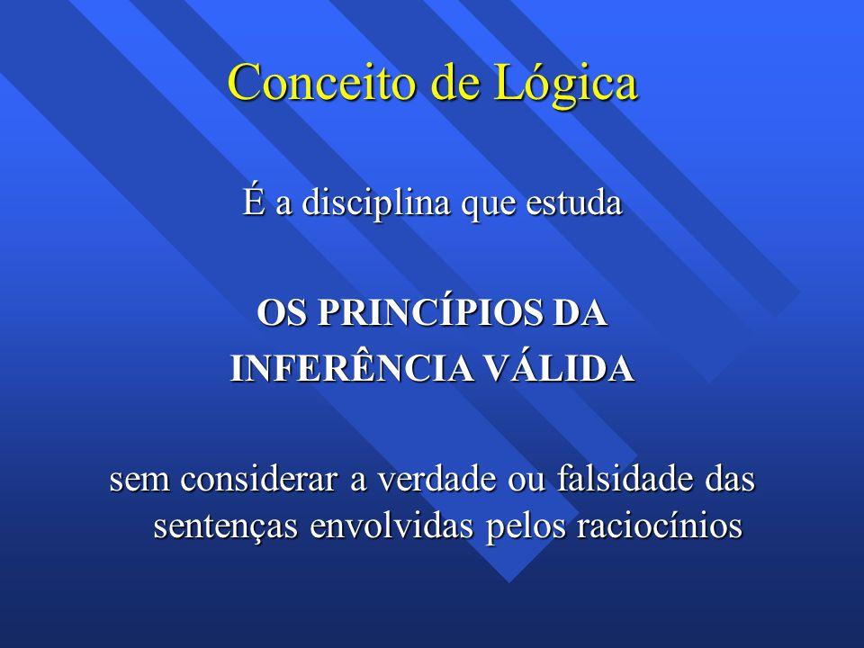 Conceito de Lógica É a disciplina que estuda OS PRINCÍPIOS DA INFERÊNCIA VÁLIDA sem considerar a verdade ou falsidade das sentenças envolvidas pelos raciocínios