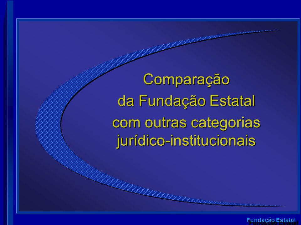 Fundação Estatal Comparação da Fundação Estatal com outras categorias jurídico-institucionais