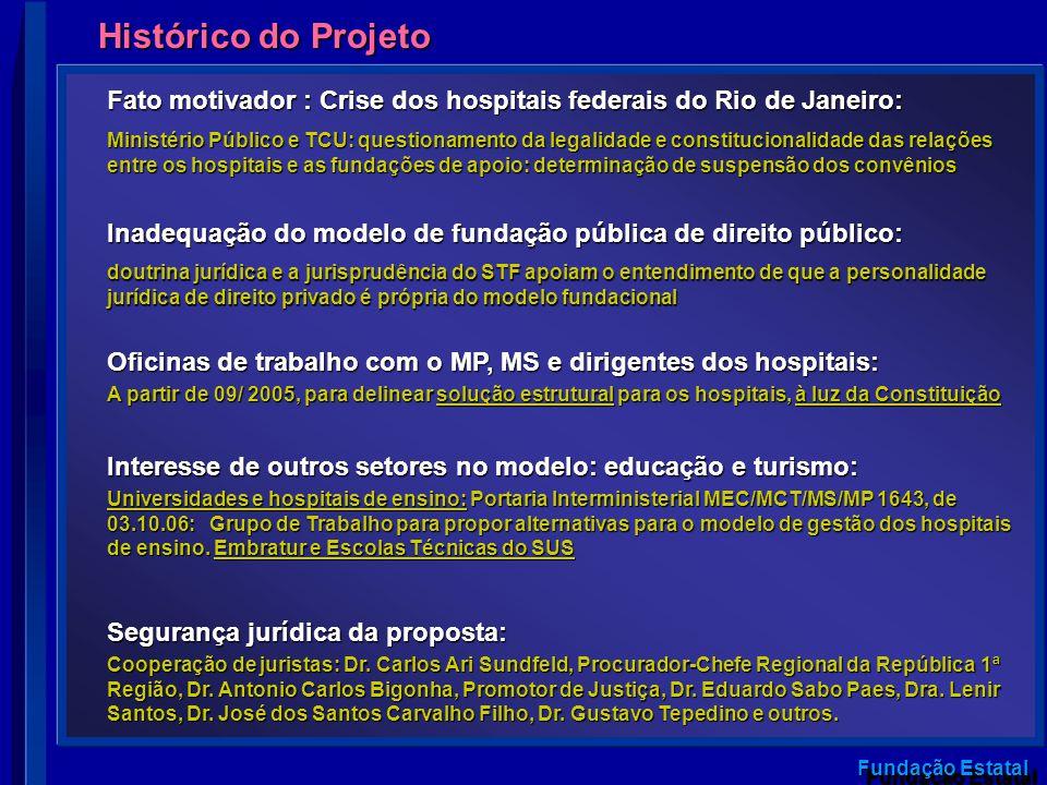 Fundação Estatal Histórico do Projeto Oficinas de trabalho com o MP, MS e dirigentes dos hospitais: A partir de 09/ 2005, para delinear solução estrut