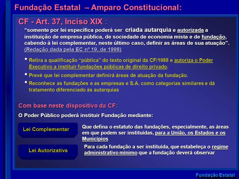 Fundação Estatal somente por lei específica poderá ser criada autarquia e autorizada a instituição de empresa pública, de sociedade de economia mista