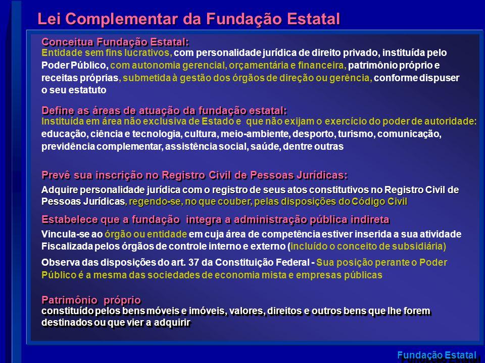 Fundação Estatal Lei Complementar da Fundação Estatal Conceitua Fundação Estatal: Entidade sem fins lucrativos, com personalidade jurídica de direito