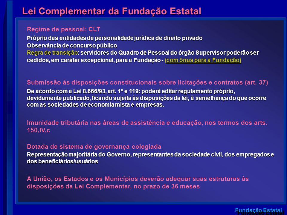 Fundação Estatal Lei Complementar da Fundação Estatal Imunidade tributária nas áreas de assistência e educação, nos termos dos arts. 150,IV,c Dotada d