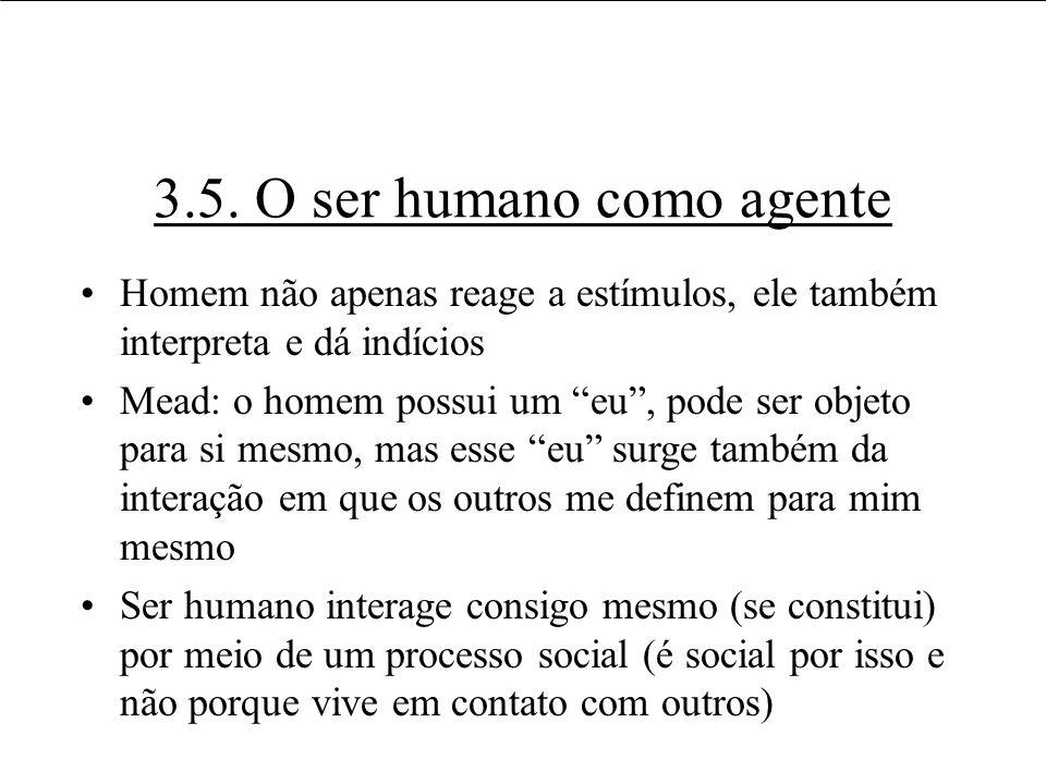 3.5. O ser humano como agente Homem não apenas reage a estímulos, ele também interpreta e dá indícios Mead: o homem possui um eu, pode ser objeto para