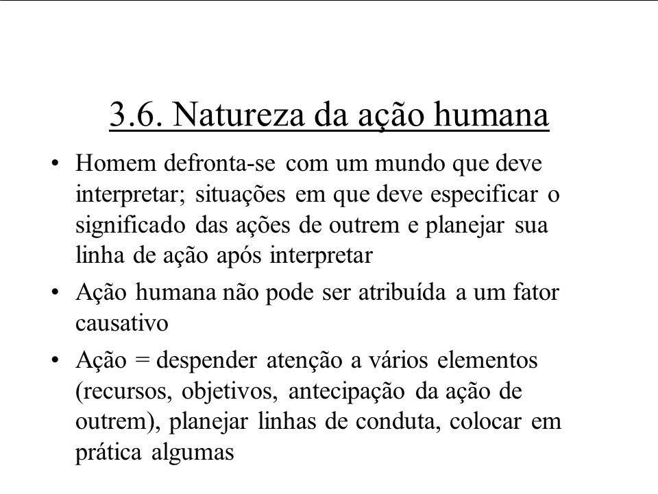 3.6. Natureza da ação humana Homem defronta-se com um mundo que deve interpretar; situações em que deve especificar o significado das ações de outrem