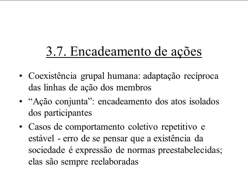 3.7. Encadeamento de ações Coexistência grupal humana: adaptação recíproca das linhas de ação dos membros Ação conjunta: encadeamento dos atos isolado