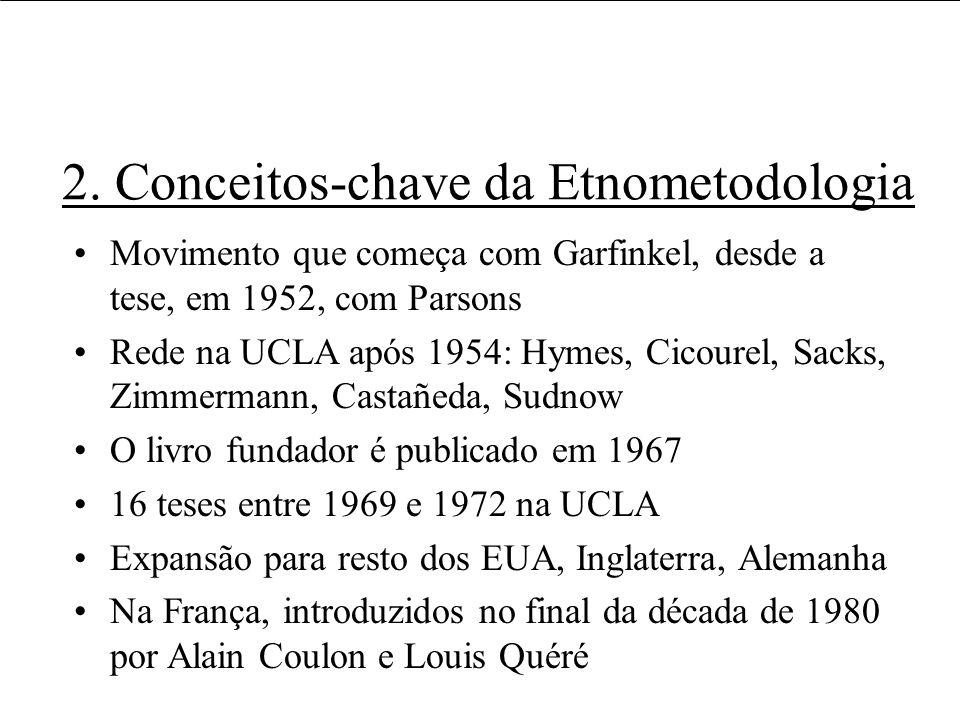 2. Conceitos-chave da Etnometodologia Movimento que começa com Garfinkel, desde a tese, em 1952, com Parsons Rede na UCLA após 1954: Hymes, Cicourel,