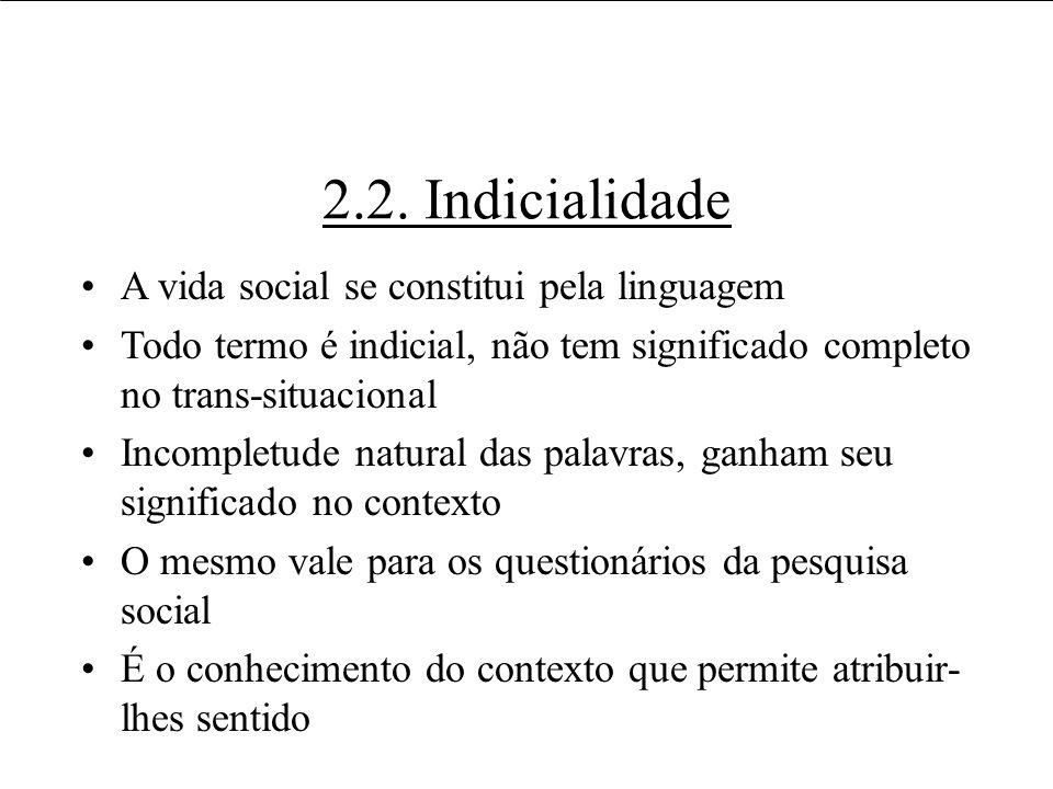 2.2. Indicialidade A vida social se constitui pela linguagem Todo termo é indicial, não tem significado completo no trans-situacional Incompletude nat