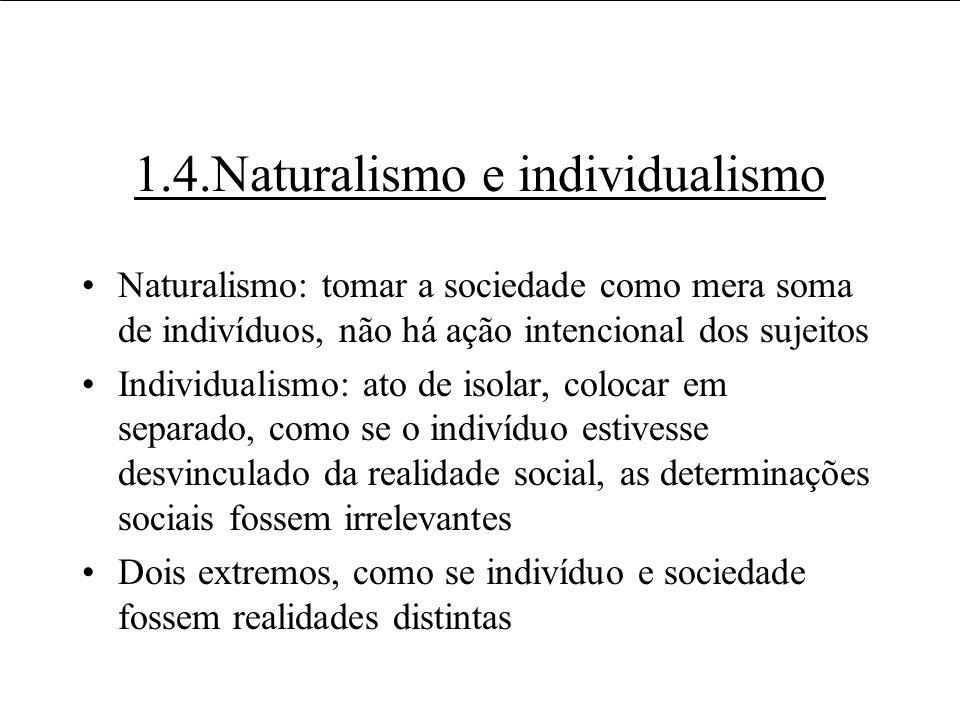 Usos e usuários da informação 1.4.Naturalismo e individualismo Naturalismo: tomar a sociedade como mera soma de indivíduos, não há ação intencional do