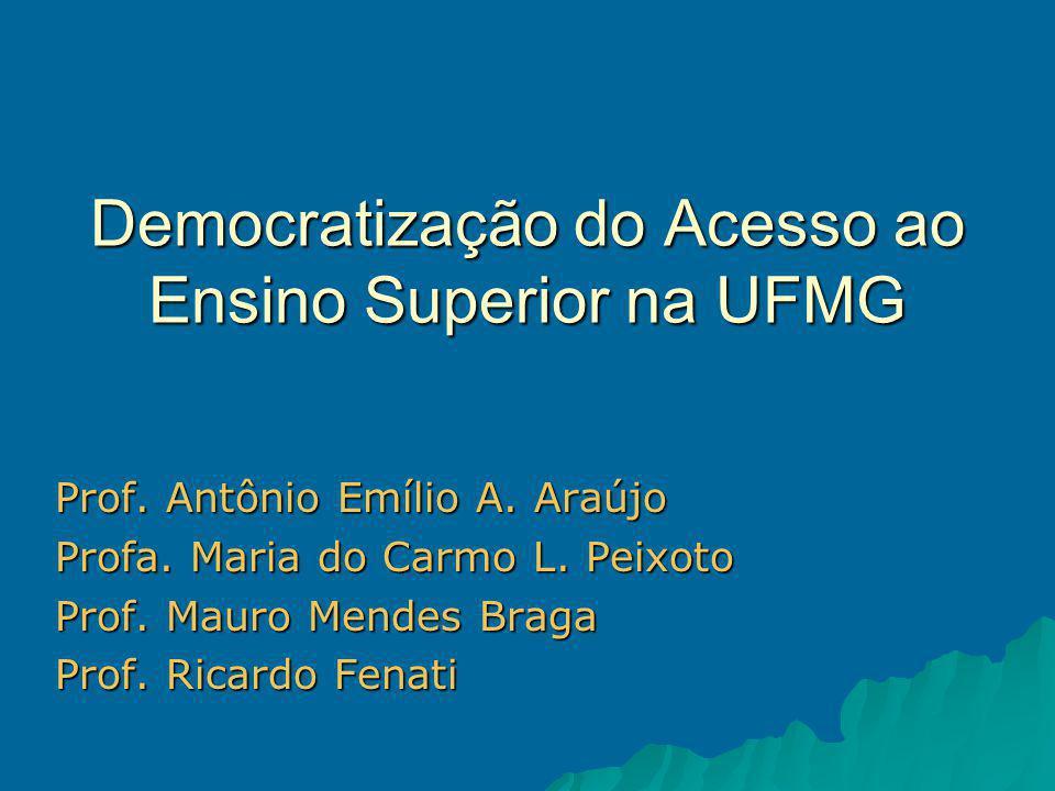 Democratização do Acesso ao Ensino Superior na UFMG Prof.