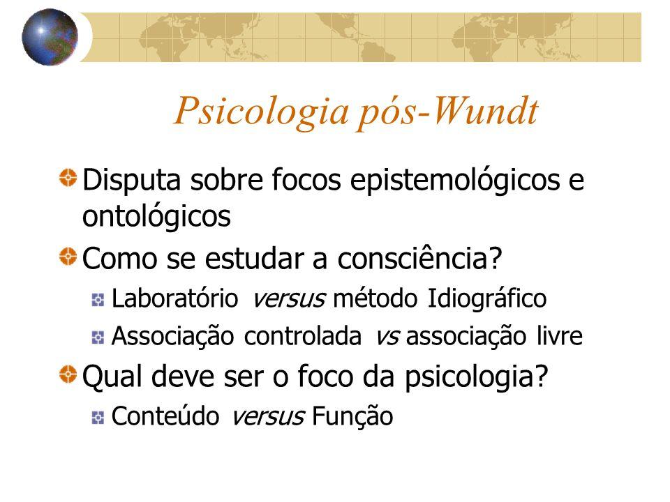 Psicologia pós-Wundt Disputa sobre focos epistemológicos e ontológicos Como se estudar a consciência.