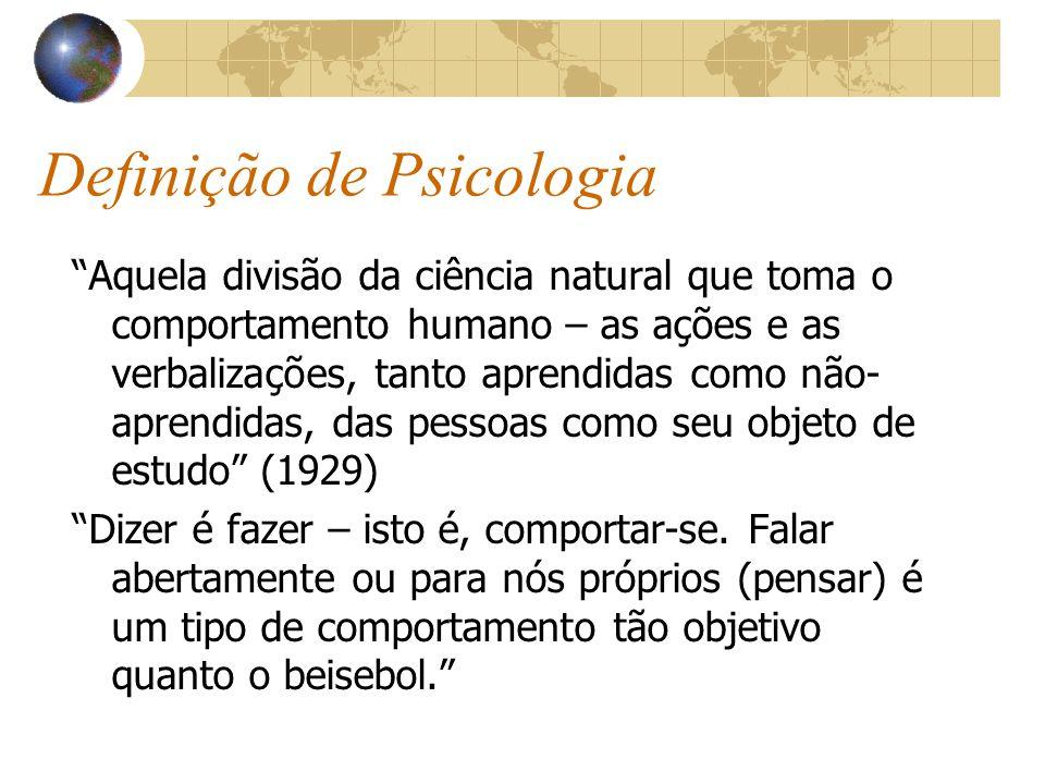 Definição de Psicologia Aquela divisão da ciência natural que toma o comportamento humano – as ações e as verbalizações, tanto aprendidas como não- aprendidas, das pessoas como seu objeto de estudo (1929) Dizer é fazer – isto é, comportar-se.