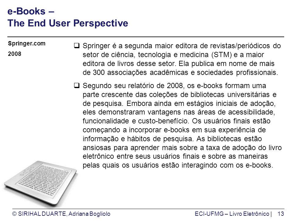 © SIRIHAL DUARTE, Adriana BoglioloECI-UFMG – Livro Eletrônico | e-Books – The End User Perspective Springer é a segunda maior editora de revistas/peri