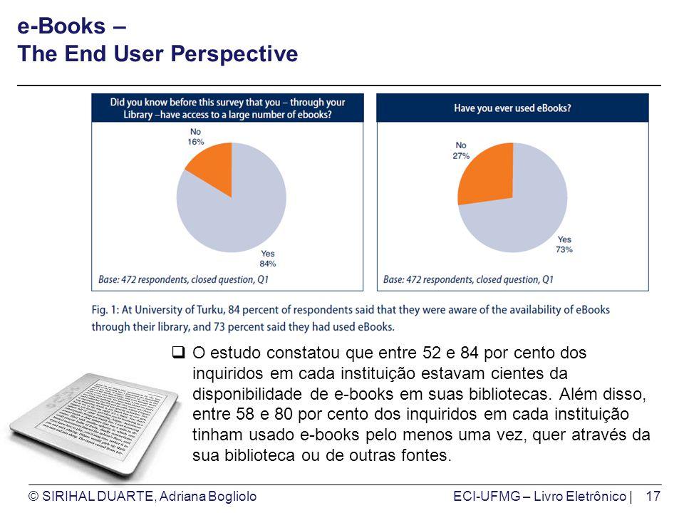 © SIRIHAL DUARTE, Adriana BoglioloECI-UFMG – Livro Eletrônico | e-Books – The End User Perspective O estudo constatou que entre 52 e 84 por cento dos
