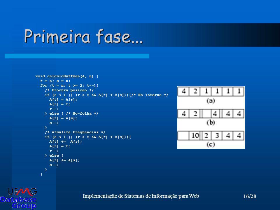 16/28 Implementação de Sistemas de Informação para Web Primeira fase... void calculoHuffman(A, n) { r = n; s = n; for (t = n; t >= 2; t--){ /* Procura