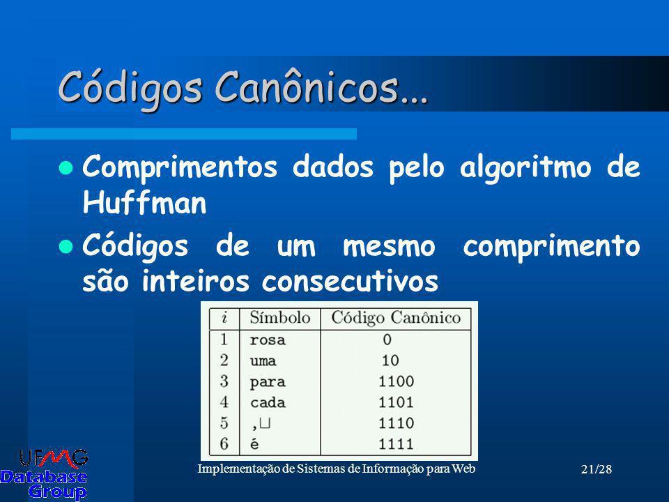 21/28 Implementação de Sistemas de Informação para Web Códigos Canônicos... Comprimentos dados pelo algoritmo de Huffman Códigos de um mesmo comprimen