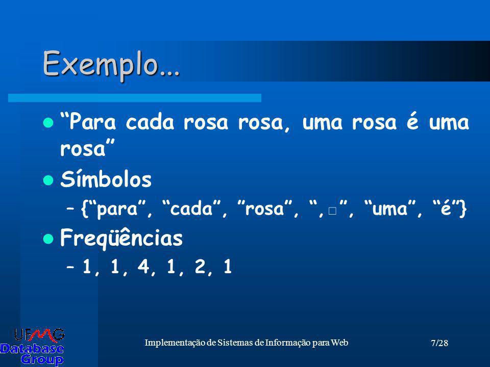 7/28 Implementação de Sistemas de Informação para Web Exemplo... Para cada rosa rosa, uma rosa é uma rosa Símbolos –{para, cada, rosa,,, uma, é} Freqü
