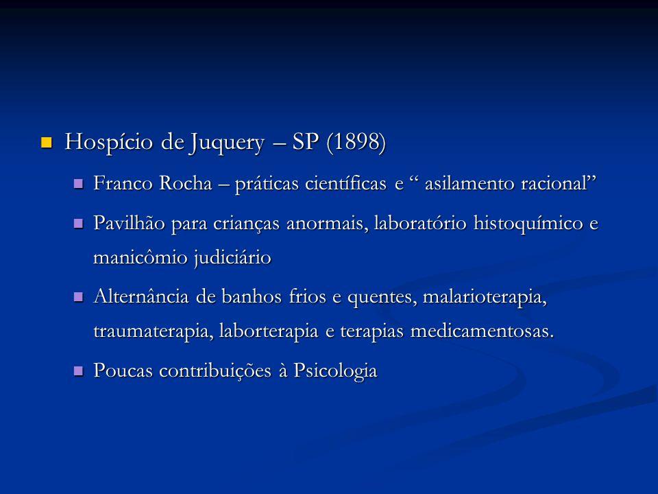 Hospício de Juquery – SP (1898) Hospício de Juquery – SP (1898) Franco Rocha – práticas científicas e asilamento racional Franco Rocha – práticas cien