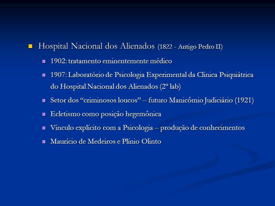 Hospital Nacional dos Alienados (1822 - Antigo Pedro II) Hospital Nacional dos Alienados (1822 - Antigo Pedro II) 1902: tratamento eminentemente médic