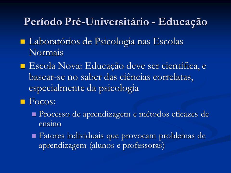 Período Pré-Universitário - Educação Laboratórios de Psicologia nas Escolas Normais Laboratórios de Psicologia nas Escolas Normais Escola Nova: Educaç