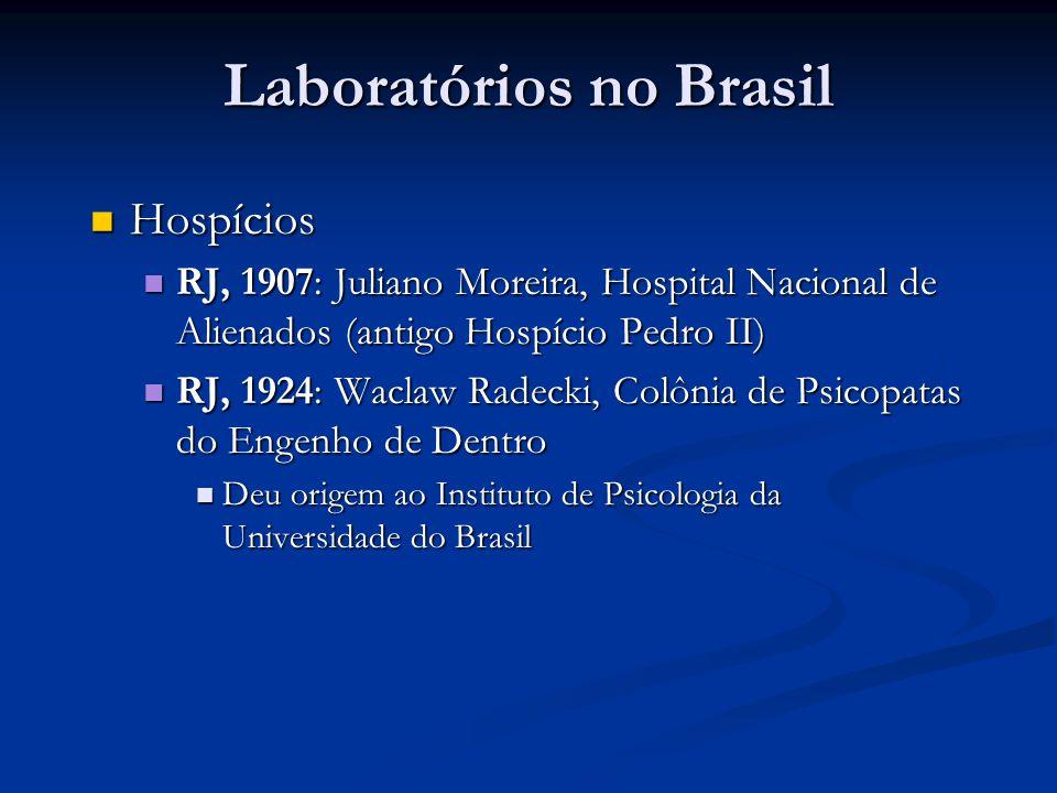 Laboratórios no Brasil Hospícios Hospícios RJ, 1907: Juliano Moreira, Hospital Nacional de Alienados (antigo Hospício Pedro II) RJ, 1907: Juliano More