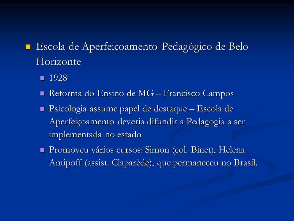 Escola de Aperfeiçoamento Pedagógico de Belo Horizonte Escola de Aperfeiçoamento Pedagógico de Belo Horizonte 1928 1928 Reforma do Ensino de MG – Fran