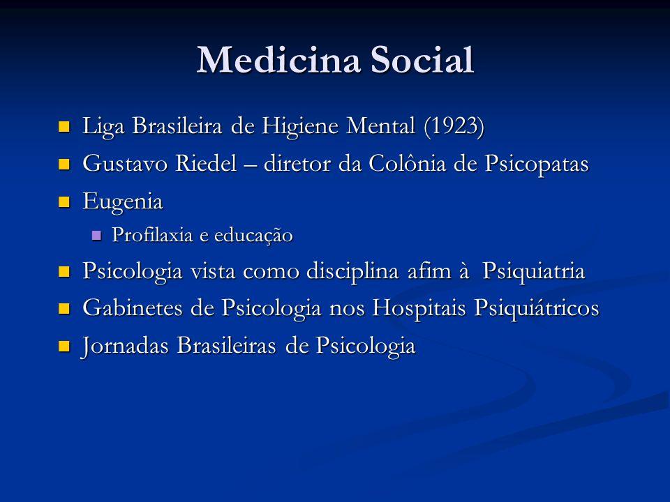 Medicina Social Liga Brasileira de Higiene Mental (1923) Liga Brasileira de Higiene Mental (1923) Gustavo Riedel – diretor da Colônia de Psicopatas Gu