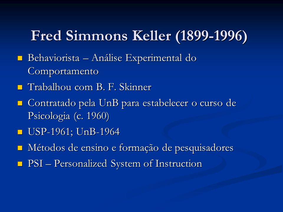 Fred Simmons Keller (1899-1996) Behaviorista – Análise Experimental do Comportamento Behaviorista – Análise Experimental do Comportamento Trabalhou co