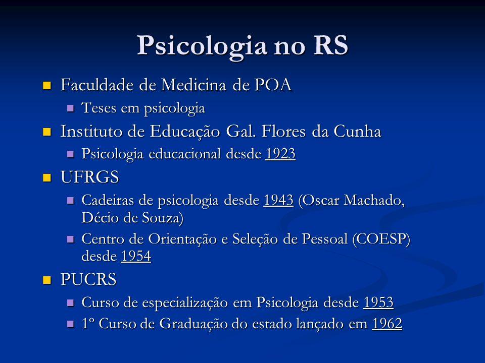 Psicologia no RS Faculdade de Medicina de POA Faculdade de Medicina de POA Teses em psicologia Teses em psicologia Instituto de Educação Gal. Flores d