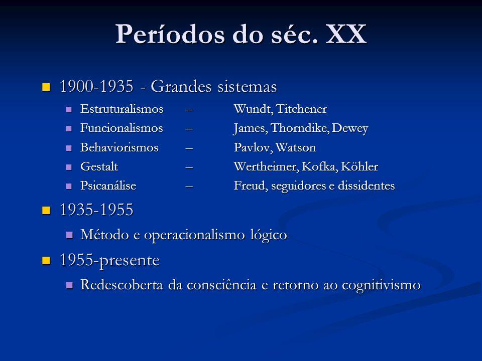 Períodos do séc. XX 1900-1935 - Grandes sistemas 1900-1935 - Grandes sistemas Estruturalismos – Wundt, Titchener Estruturalismos – Wundt, Titchener Fu