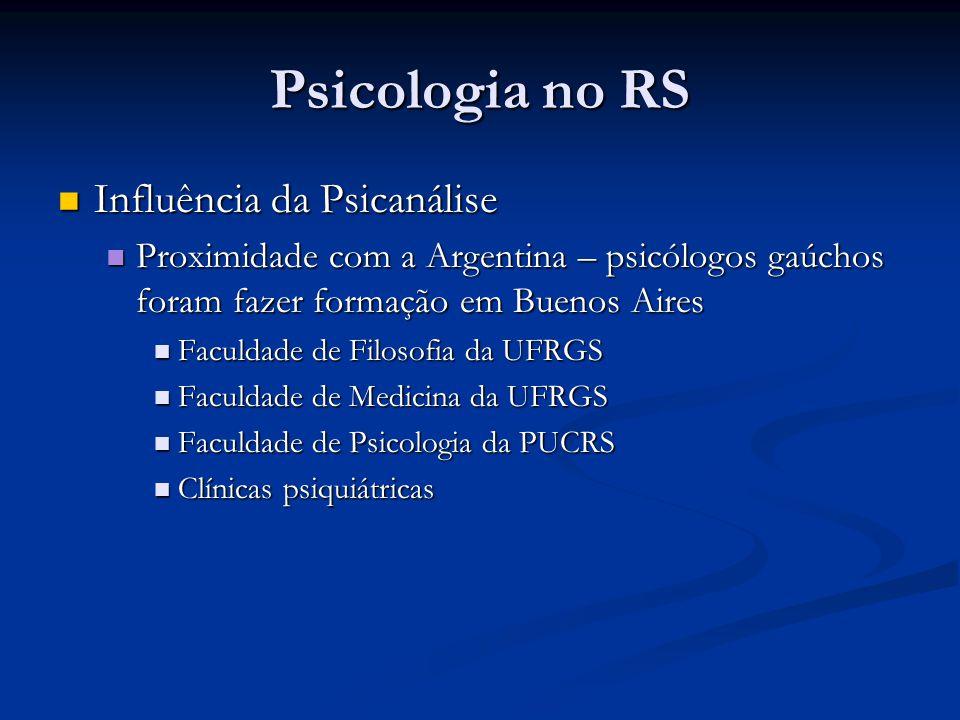 Psicologia no RS Influência da Psicanálise Influência da Psicanálise Proximidade com a Argentina – psicólogos gaúchos foram fazer formação em Buenos A