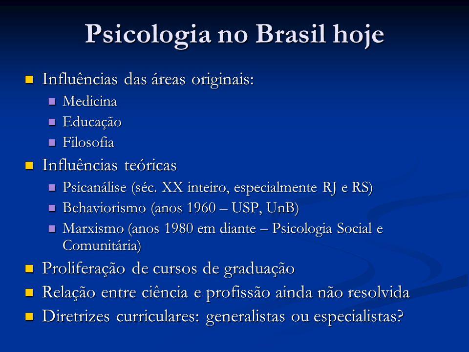 Psicologia no Brasil hoje Influências das áreas originais: Influências das áreas originais: Medicina Medicina Educação Educação Filosofia Filosofia In