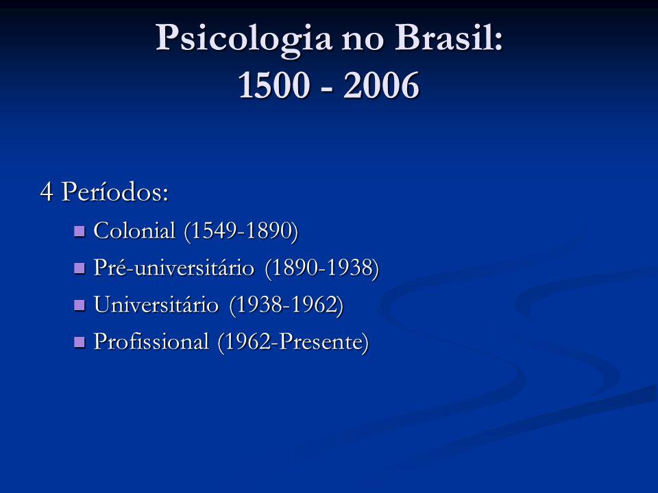Psicologia no Brasil: 1500 - 2006 4 Períodos: Colonial (1549-1890) Colonial (1549-1890) Pré-universitário (1890-1938) Pré-universitário (1890-1938) Un