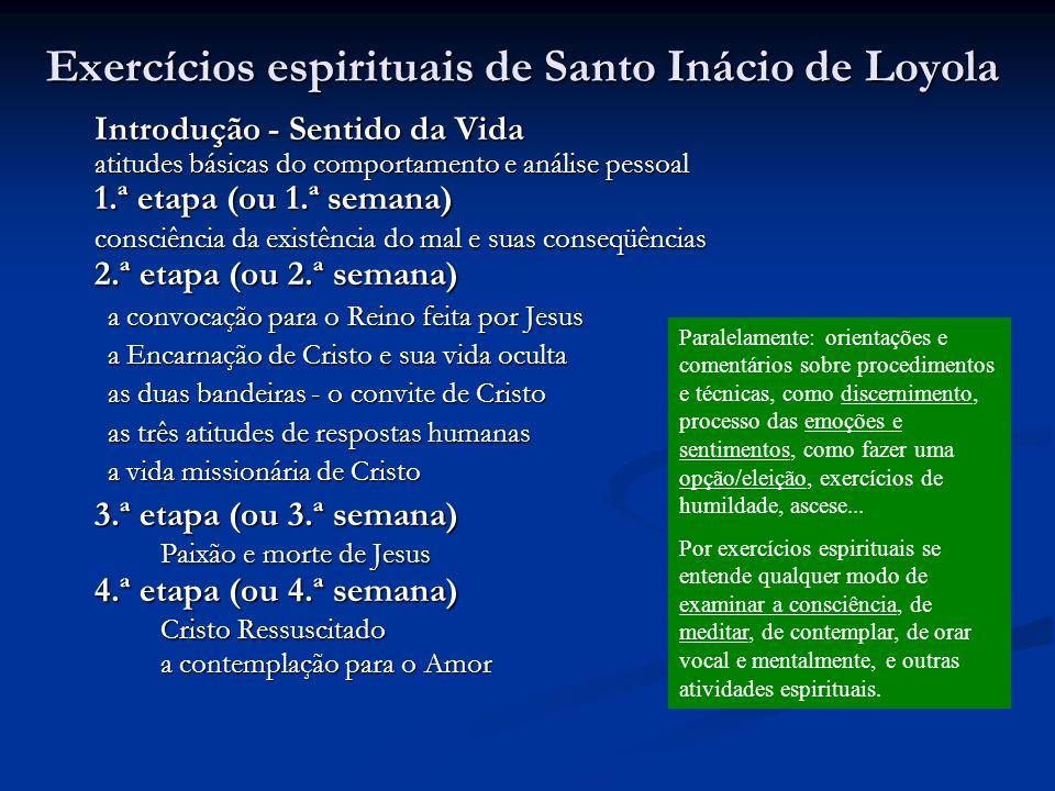 Exercícios espirituais de Santo Inácio de Loyola Introdução - Sentido da Vida atitudes básicas do comportamento e análise pessoal 1.ª etapa (ou 1.ª se