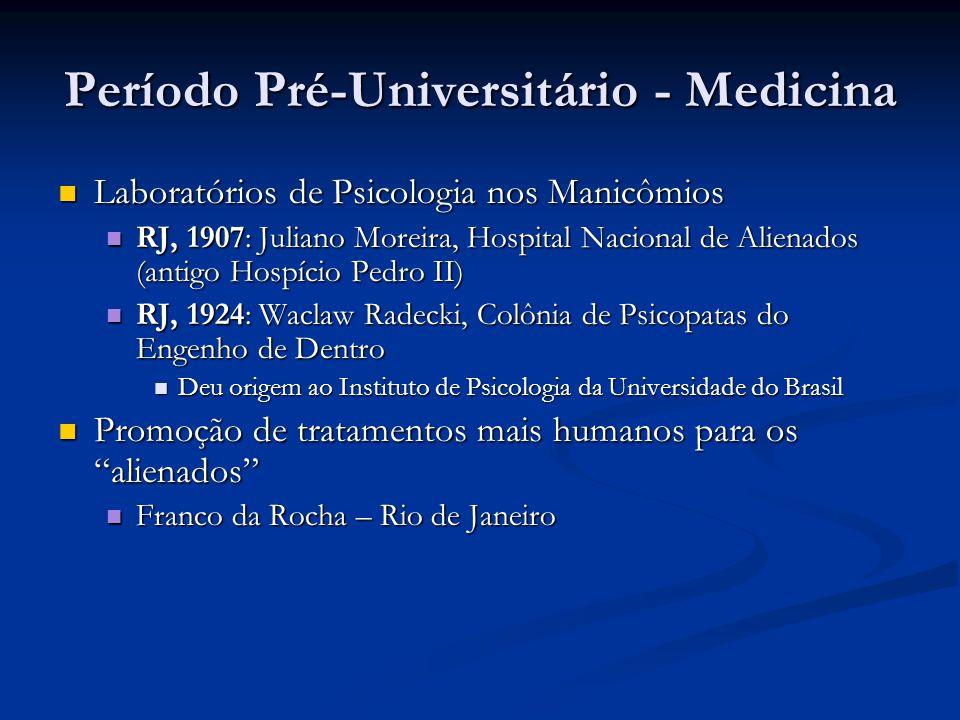 Período Pré-Universitário - Medicina Laboratórios de Psicologia nos Manicômios Laboratórios de Psicologia nos Manicômios RJ, 1907: Juliano Moreira, Ho
