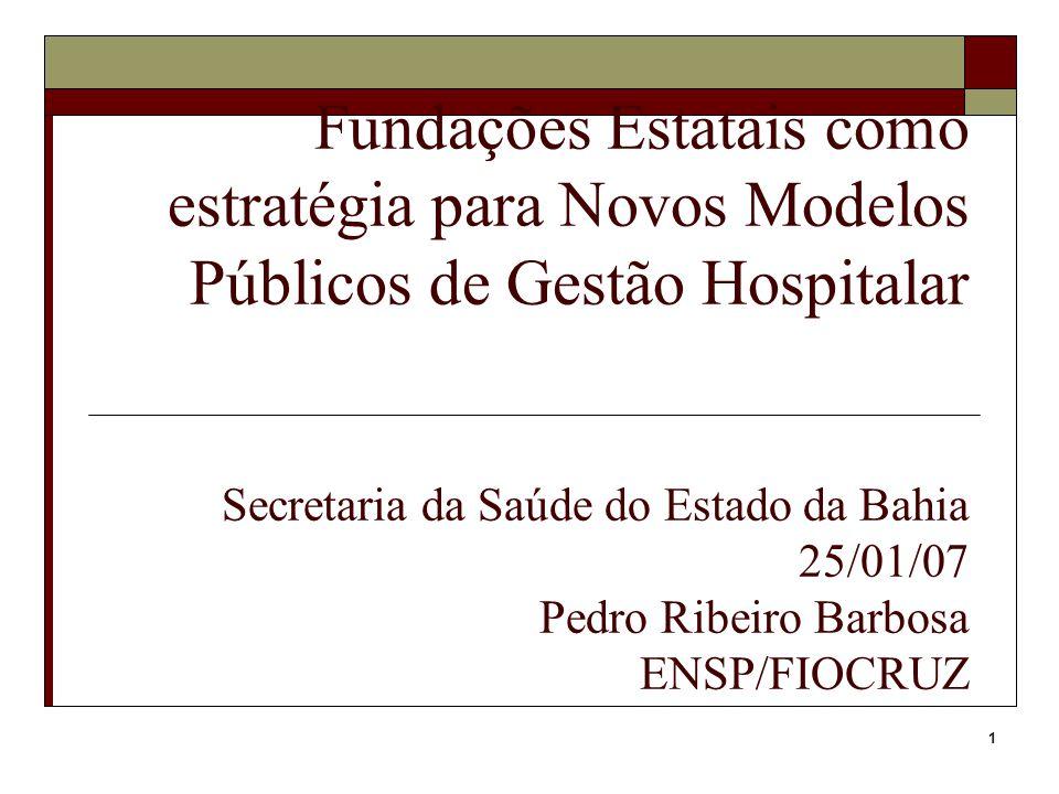 1 Fundações Estatais como estratégia para Novos Modelos Públicos de Gestão Hospitalar Secretaria da Saúde do Estado da Bahia 25/01/07 Pedro Ribeiro Ba